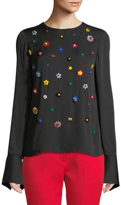 Milly Eleanore Floral-Applique Top