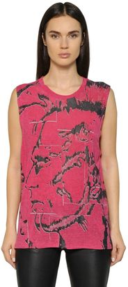 Printed Rayon Jersey Sleeveless T-Shirt $76 thestylecure.com