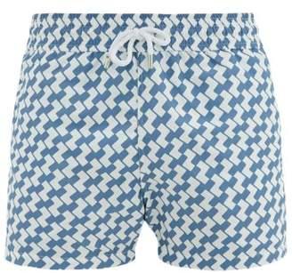 Frescobol Carioca - Copacabana Print Swim Shorts - Mens - Blue