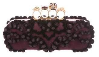 Alexander McQueen Crystal-Embellished Skull Suede Knuckle Clutch