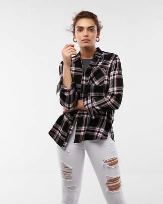 Express Plaid Flannel Boyfriend Shirt