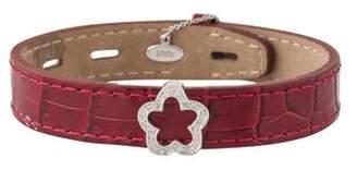 14K Diamond Flower Slide Leather Wrap Bracelet