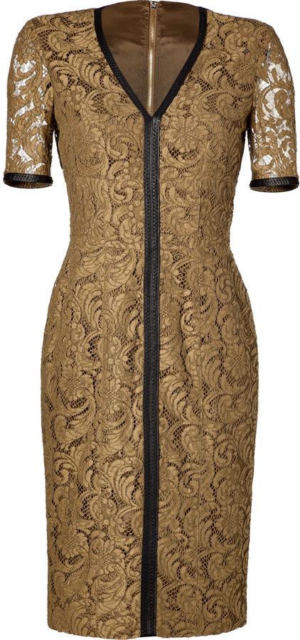 Burberry Stevie Lace Dress in Dark Camel