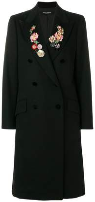 Dolce & Gabbana double-breasted floral embroidered coat