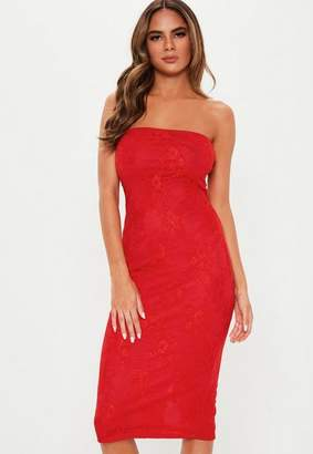 3b153240d6 Missguided Red Lace Bandeau Midi Dress