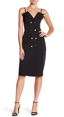 HYFVE Notch Collar Button Front Striped Dress