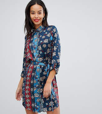 Parisian Tall floral and stripe print shirt dress