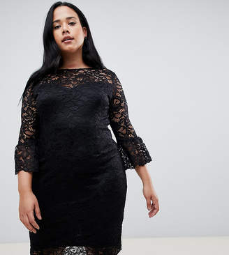 Paper Dolls Plus lace midi dress with frill sleeve in black