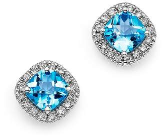 Bloomingdale's Blue Topaz Cushion Cut and Diamond Stud Earrings in 14K White Gold - 100% Exclusive