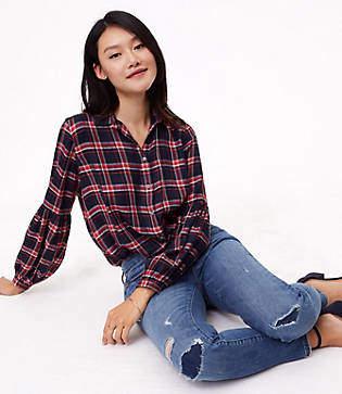 LOFT Modern Destructed Skinny Jeans in Mended Mid Indigo Wash