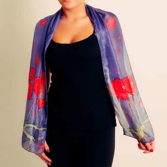 Joanne Eddon (hand painted silk) Poppy Silk Scarf