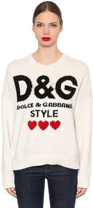 Dolce & Gabbana Oversized Logo Cashmere Knit Sweater