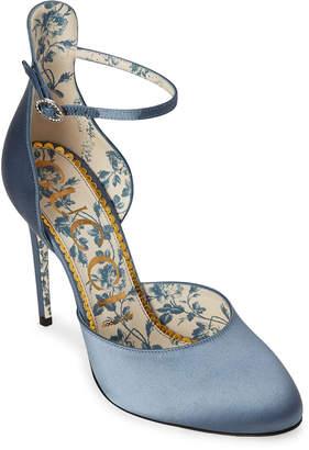 Gucci Daisy Ankle Strap Satin Pumps
