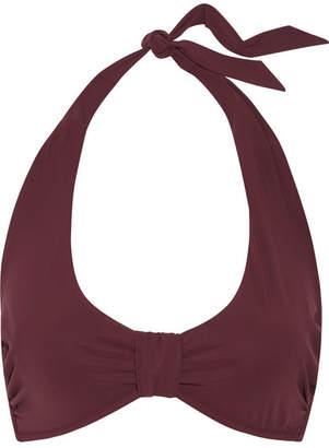 Heidi Klein - Body Ruched Halterneck Bikini Top - Burgundy $190 thestylecure.com