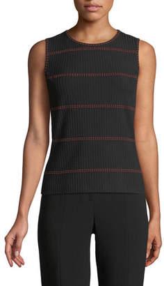 St. John Textured Stripe Faux-Rib Knit Shell