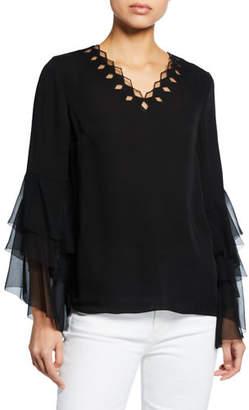 de069007e0123a Elie Tahari Tia V-Neck Long Flounce-Sleeve Silk Blouse