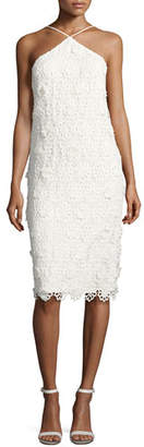 Trina Turk Conga Sleeveless 3D Lace Cocktail Dress, Whitewash