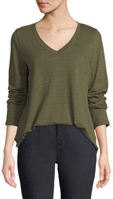 Eileen Fisher V-Neck Long-Sleeve Pinstriped Tee, Plus Size
