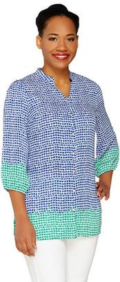 Liz Claiborne New York 3/4 Sleeve Border Print Tunic