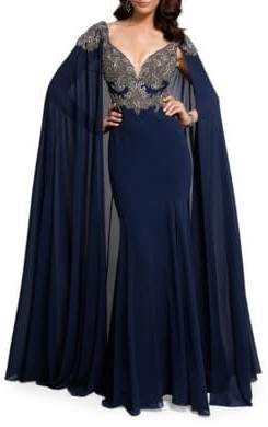 Terani Couture Glamour by Embroidered Cape Gown