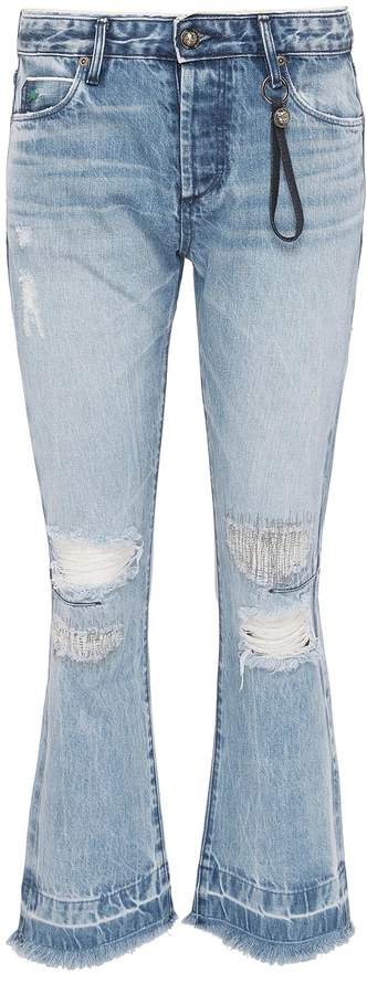Tortoise Denim 'Bellatula' colourblock patch pocket ripped flared jeans