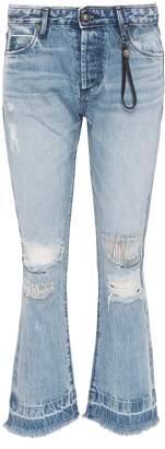 Tortoise Denim 'Bellatula' colourblock patch pocket ripped flared jeans