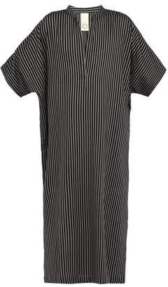 Marrakshi Life - Oxford Stripe Cotton Blend Kaftan - Mens - Black Grey