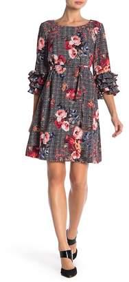 Robbie Bee Tiered Ruffle Sleeve Print Dress
