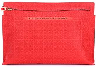 Loewe T Pouch embossed leather clutch