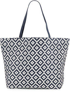 Neiman Marcus Diamond-Woven Shoulder Tote Bag