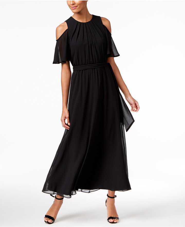 Calvin Klein Cold-Shoulder Maxi Dress