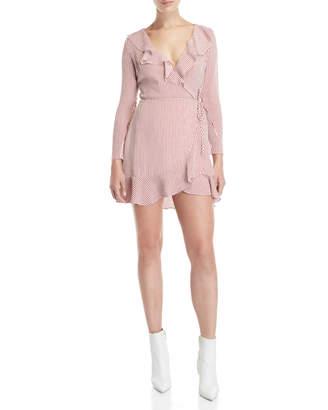 Lucy Paris Ruffle Stripe Wrap Dress