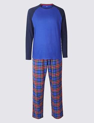 Marks and Spencer Big & Tall Brushed Cotton Checked Christmas Pyjama Set