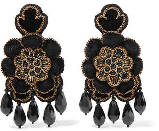 Etro Crystal, Bead And Velvet Clip Earrings - Black