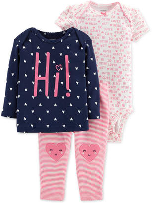 Carter's 3-Pc. Baby Girls Cotton Top, Bodysuit & Pants Set