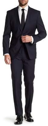 BOSS Huge Notch Collar Flat Front Pants Windowpane Print 2-Piece Suit