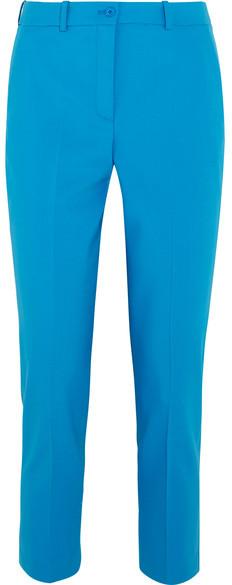 Michael Kors Collection - Samantha Stretch-wool Slim-leg Pants - Blue