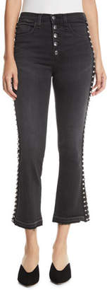 Veronica Beard Carolyn Flare-Leg Jeans w/ Studded Tuxedo Stripes