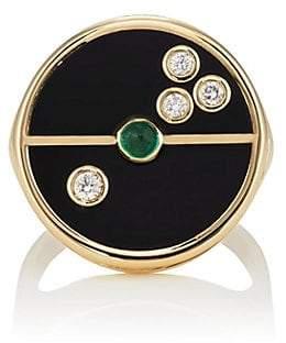 Ring Black RETROUVAI Women's Compass Signet Ring - Black