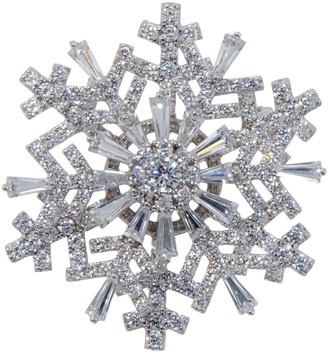 Diamonique Spinning Snowflake Pin Pendant, Sterling