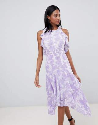 Whistles Ruffle Floral Midi Dress