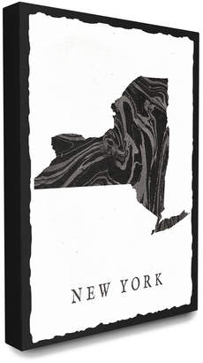 Stupell The Home Decor Collection Black And Grey Marbled Paper New York State Silhouette