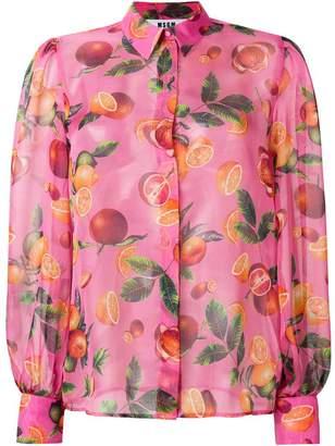 MSGM fruit print sheer blouse