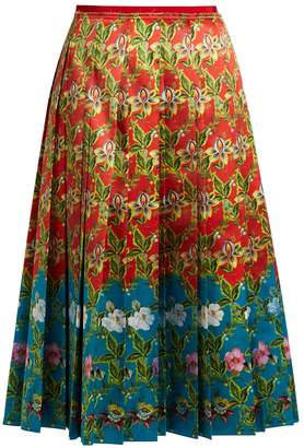 Gucci Floral-print pleated silk-satin skirt