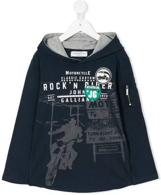 John Galliano logo print hooded top