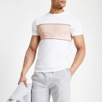 River Island Mens White 'Maison Riviera' muscle fit T-shirt