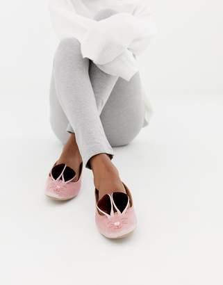 Ted Baker Pink Velvet Bunny Slippers