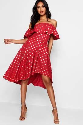 boohoo Boutique Rose Metallic Polka Dot Skater Dress