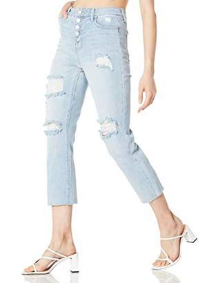 DANNE MORA Women's High Waist Ripped Distressed Loose Fit Straight Stretch Cropped Jeans