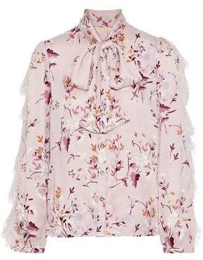 By Ti Mo Bytimo Pussy-bow Lace-trimmed Floral-print Voile Blouse